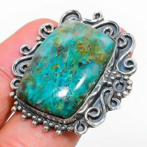 Chrysocolla Gemstone Handmade 925 Sterling Silver Jewelry Ring Size 7.5 S789