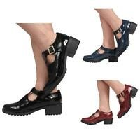 NEW WOMENS LADIES MARY JANE T-BAR BUCKLES BLOCK MID HEEL COURT SHOES SIZE 3-8
