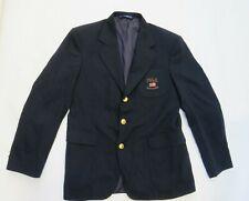 NWT Ralph Lauren Equestrian blazer Coat Oxford Worsted Wool Black embossed 16
