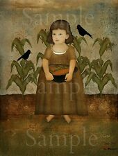 Primitive Fall Autumn Elizabeth Crow Corn Field Beth Albert Laser Print 8x10