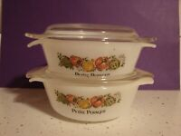2 FIRE KING PETITE POTAGER  DISHES W/REVERSIBLE STACKABLE  LID 12oz #472 VINTAGE