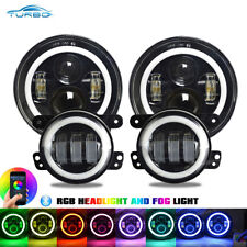 Jeep Wrangler JK LED Headlights Fog light RGB Halo Kit, Bluetooth App Controlled