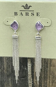 Barse On the Fringe Earring- Amethyst & Sterling Silver- NWT