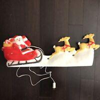 ✳️Vtg Christmas Santa W/ Sleigh & Reindeer Plastic Blow Mold Light Up Union