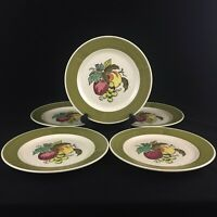 Set of 5 VTG Dinner Plates by Metlox Poppytrail Vernon Provincial Fruit 372 USA
