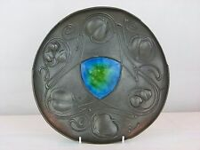 A Rare Liberty & Co Tudric Pewter Bollelin Shield w/ Enamel  by Archibald Knox.