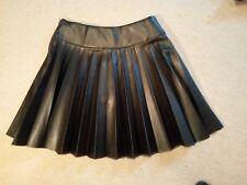 H&M BLACK Faux Leather PU Skater Pleated MINI SKIRT uk8eu34u4 Waist w24ins w61cm