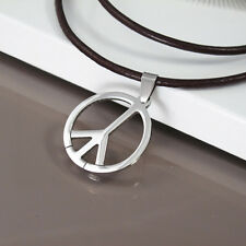 Silver Surfer Woodstock Hippie Peace Pendant Mens Womens Black Leather Necklace