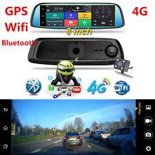 "8"" 4G GPS Bluetooth WIFI Rear View Mirror DashCam Car DVR Backup Camera G-Sensor"
