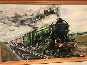 Signed Oil Painting of Steam Train LNER 4472