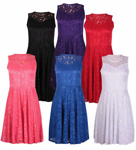 New Womens Ladies Nauvelle Plus Size Floral Lace Lined Skater Swing Dress 14-28