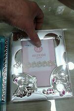 Portafoto19x15  foto 9x13cm colore rosa  neonato con sfoglia argento 925  baby