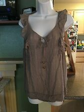 Womens Juicy Couture Beige Front Tie Gold Shimmer Sleevless Blouse Size LG