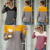 V Neck Top Long Sleeve Pullover Casual Shirt T-Shirt Loose Striped Blouse Womens