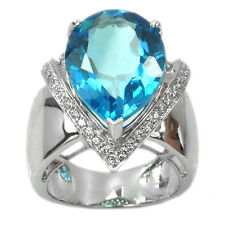 De Buman 15.40ctw Swiss Blue Topaz & Cubic Zirconia Ring Size 7.5