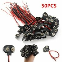 50PCS 9V Battery Connector Snap Clip T Style Cable Wire Lead 9 Volt Holder Tools