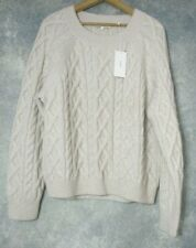 NWT Vince $395 Wool & Cashmere Blend Cable Knit Sweater in Off-White; L
