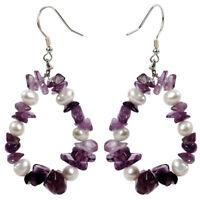 Pearl Amethyst Sterling Silver Drop Dangle Earrings Jewelry Gift Women Mom Her