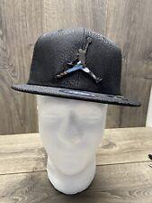 Nike Air Jordan Elephant Youth Snapback Hat Black Silver Logo 9A1623 023