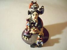 """Handcrafted Miniature """"The Storyteller"""" 3 1/4'' Mom With 12 Kids"""