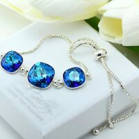 925 Silver Adjustable Bracelet 10&12mm Bermuda Blue Crystals from Swarovski®