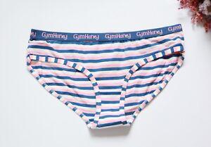 Sexy Ladies Briefs Lingerie Knickers cheeky cut Panties blue cotton stripe S-M