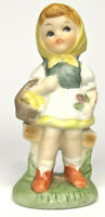 "Vintage Homco 4"" Collectible Figurine Bonnet Girl Basket of Eggs"