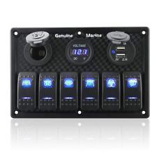 6 Gang On-Off Blue LED Rocker Switch Panel Dual USB Fuse Panel Car Boat RV