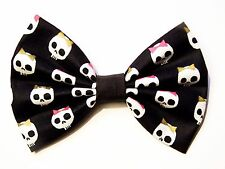 NEW FABRIC HAIR BOW W/Alligator Clip*Skulls with bows*Handmade USA*FREE SHIPPING