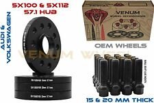 4pc 15mm & 20mm Audi Volkswagen 5x100 5x112 Black Hub Centric Wheel Spacer Kit