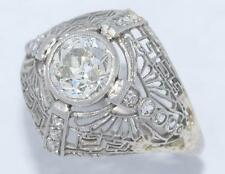 ESTATE ANTIQUE ART DECO SOLID PLATINUM 1.72CTW NATURAL DIAMOND FILIGREE RING