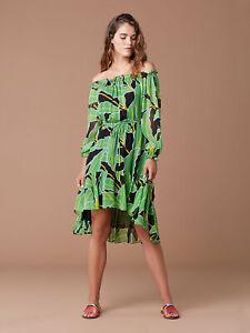 DIANE VON FURSTENBERG DVF Camilla Silk Chiffon Palm Print Dress
