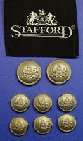 8 STAFFORD SIGNATURE LOGO SILVER TONE JACKET BUTTONS BY WATERBURY GOOD USED COND