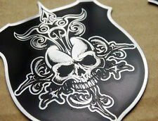 Stainless Steel Skull Shield Badge Emblem Decal Sticker Harley Motorcycle Models