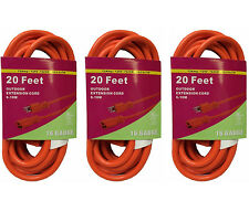 3x 20FT Orange Indoor Outdoor Extension Electric Power Cord Cable 16 Gauge BN320