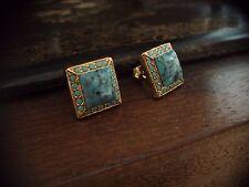 Vintage Deco Style SquareTurquoise Pierced Stud Earrings