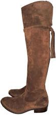 Frye Clara Tassel Over The Knee Boot Stretch Back Flat Bootie 10 Wood Suede Otk
