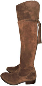 Frye Clara Tassel Over The Knee Boot Stretch Back Flat Bootie 9.5 Wood Suede Otk