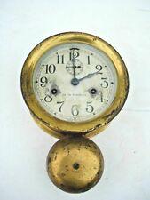 Antique Seth Thomas Nautical Outside Bell Ships Brass Wall Clock