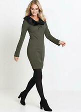 Loose Fitting Army Green Jumper Dress With Removable Fur Collar Size M (14-16)