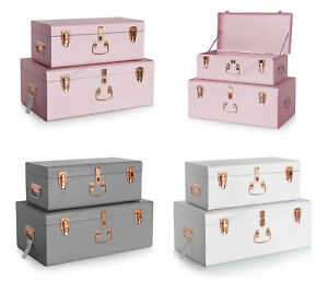WestWood Metal Storage Trunks Set 2PC Toy Box Chest Suitcase Vintage Lockable