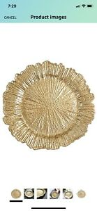 Tiger Chef Round Charger Plates Gold Leaf Dinner - 13-inch Wedding 12 SET