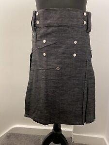 Fashion Kilt Modern Cotton Jeans Kilt For Men's Scottish Traditional Size 36 Gry