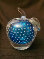 Stunning Color Controlled Bubble Art Glass Blue Clear Apple Paperweight