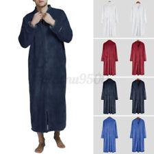 Mens Warm Flannel Fleece Long Dressing Gowm Towelling Bathrobe Pajama Housecoat