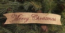 "Primitive Merry Christmas Wired Burlap Ribbon Banner Ornament Garland 2-1/2""x14"""
