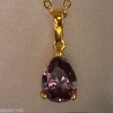 P062. 18k GOLD filled pendant & chain necklace with AMETHYST in luxury gift box