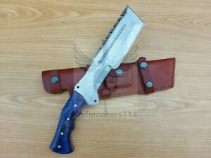 13'' coustom handmade D2 Steel Hunting Tracker Knife with leather sheath
