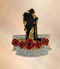 NEW Poppy Tommy Soldier Lapel Pin Twin Butterfly Clasp Back Brooch