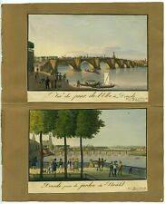 19TH CENTURY HAND-PAINTED ENGRAVINGS~ELBE RIVER/BRUHL'S GARDEN DRESDEN/GERMANY
